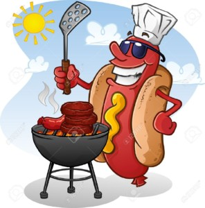 19650098-Hot-Dog-Cartoon-Character-Grilling-Burgers-Stock-Vector-barbecue-bbq-cartoon